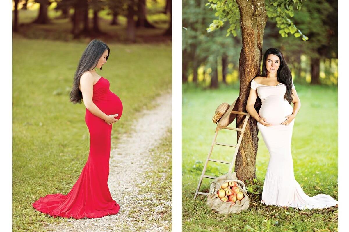 Babybauch Shooting Outdoor Carmen Bergmann Fotografie Schwangerschaftskleid draussen