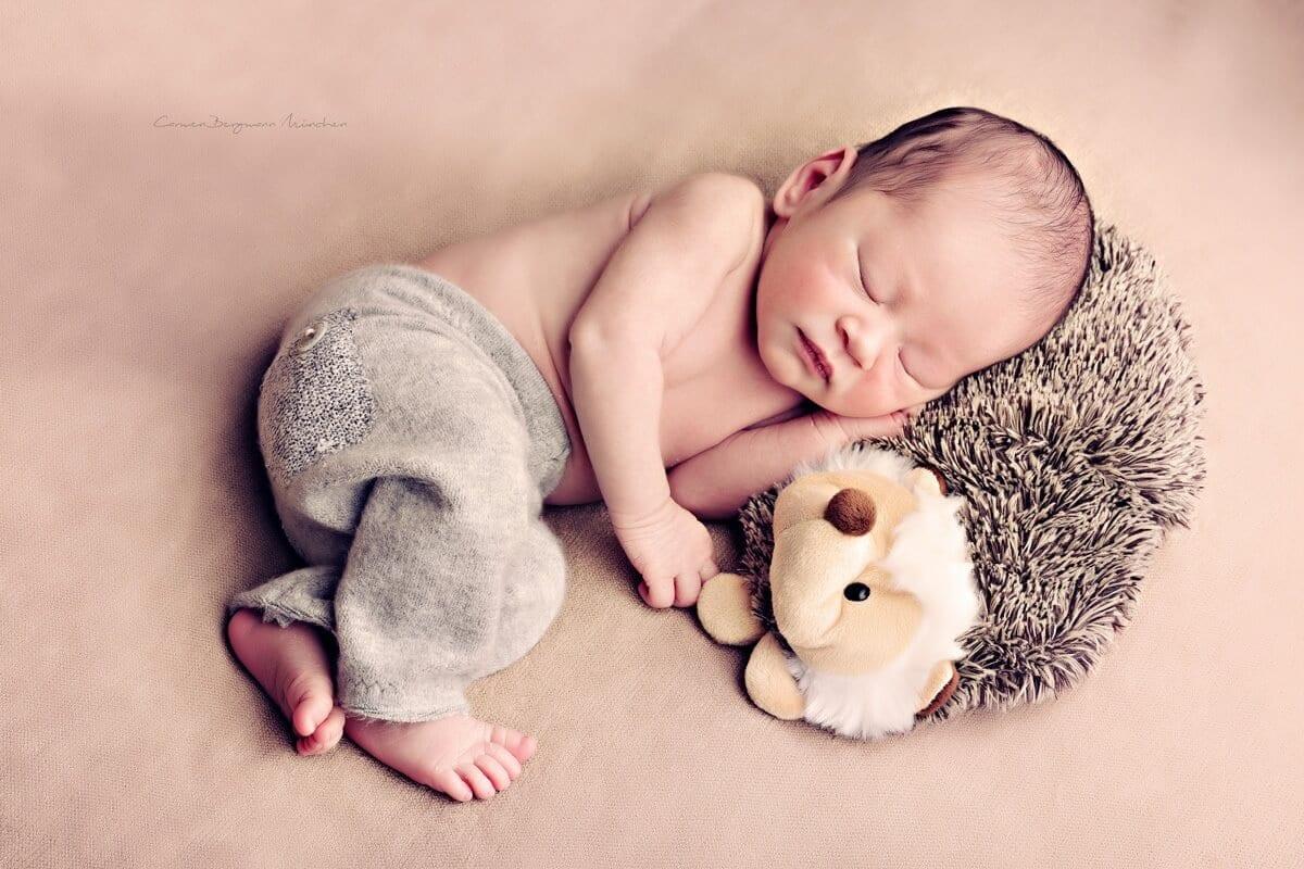 Neugeborenes mit Stofftier in Fotostudio Shooting bei Carmen Bergmann Fotogtafie Muenchen
