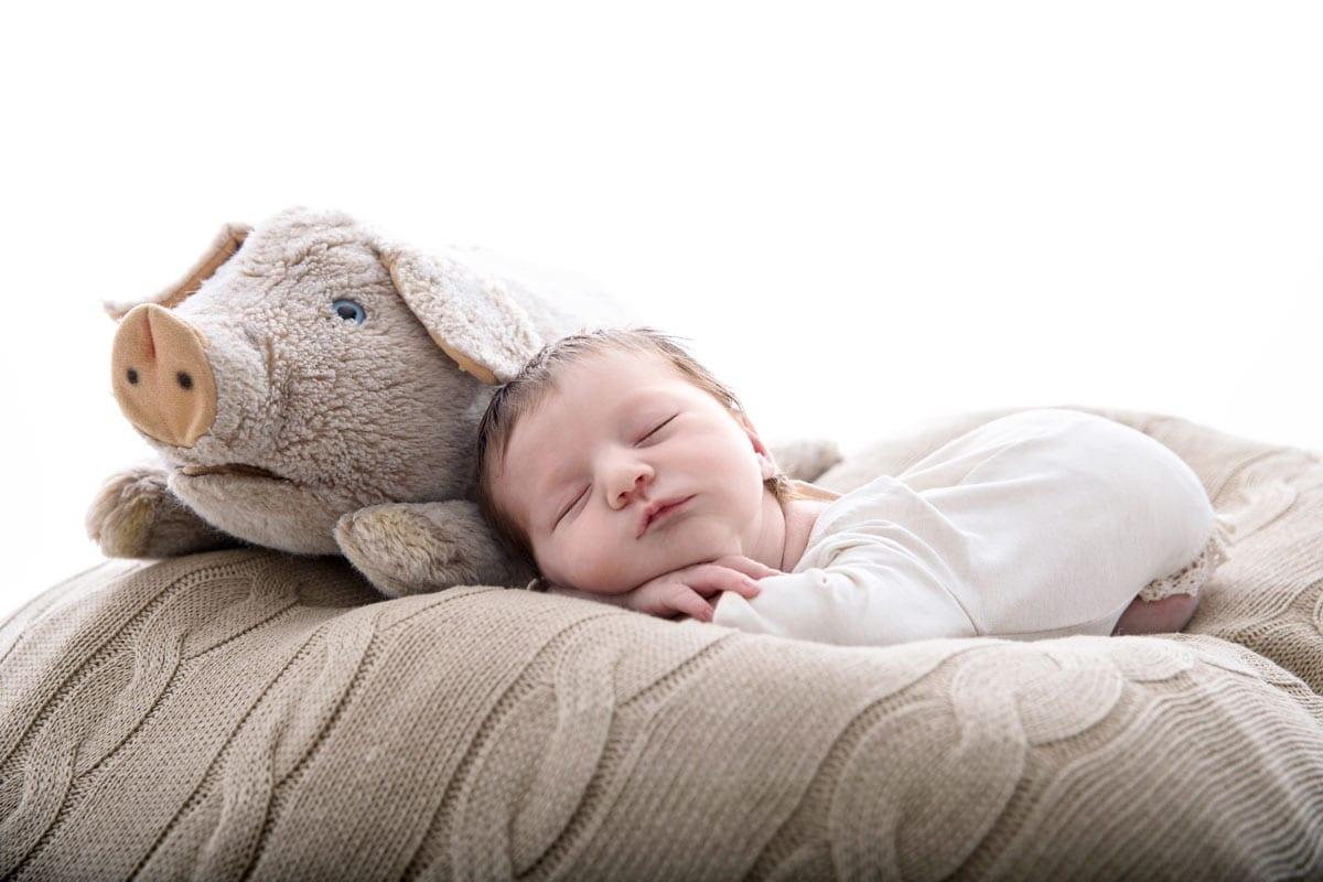 Neugeborenes Baby schlaeft bei einem Puppenspielzeug im Carmen Bergmann Fotostudio in Muenchen