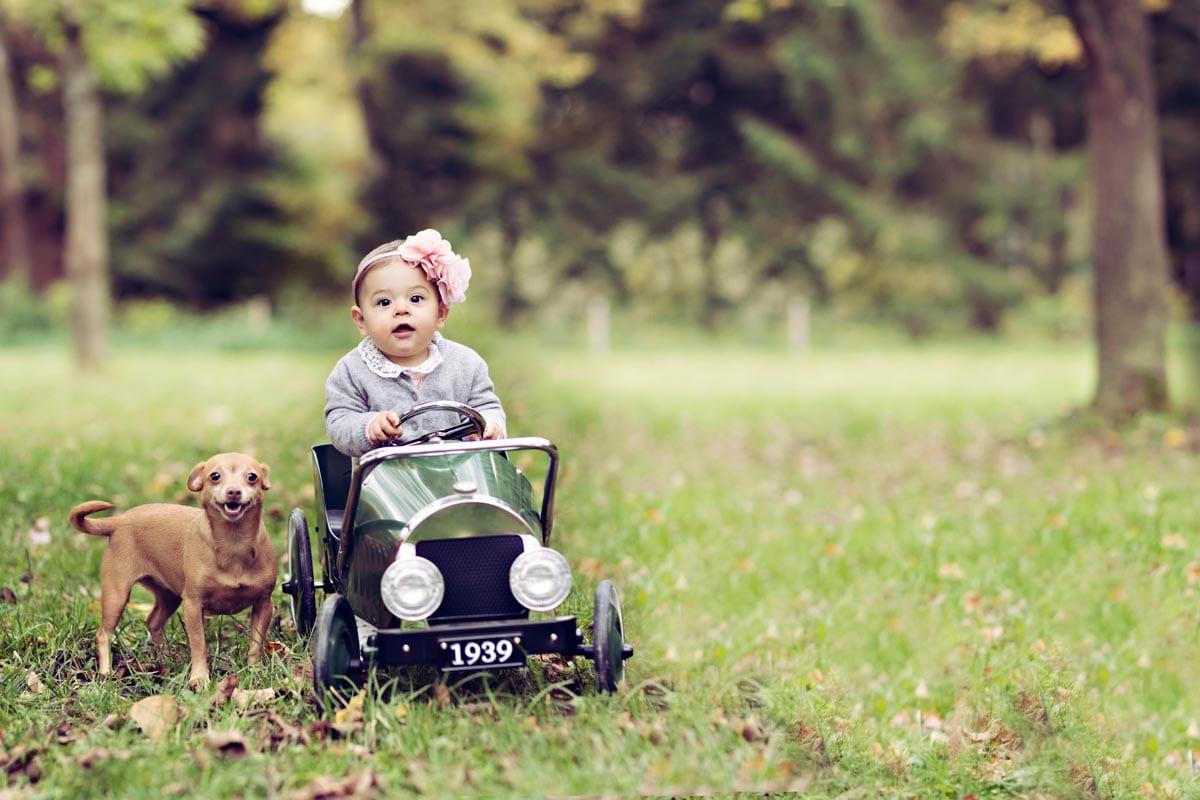 kleines Maedchen faehrt ein Spielzeugauto und ein Hund posiert waehrend eines Outdoor Fotoshootings Carmen Bergmann