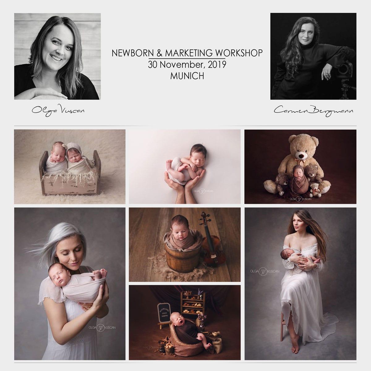 Das Carmen Bergmann Studio in München organisiert einen Workshop für neugeborene Fotografie und Marketing von Olga Vuscan und Carmen Bergmann