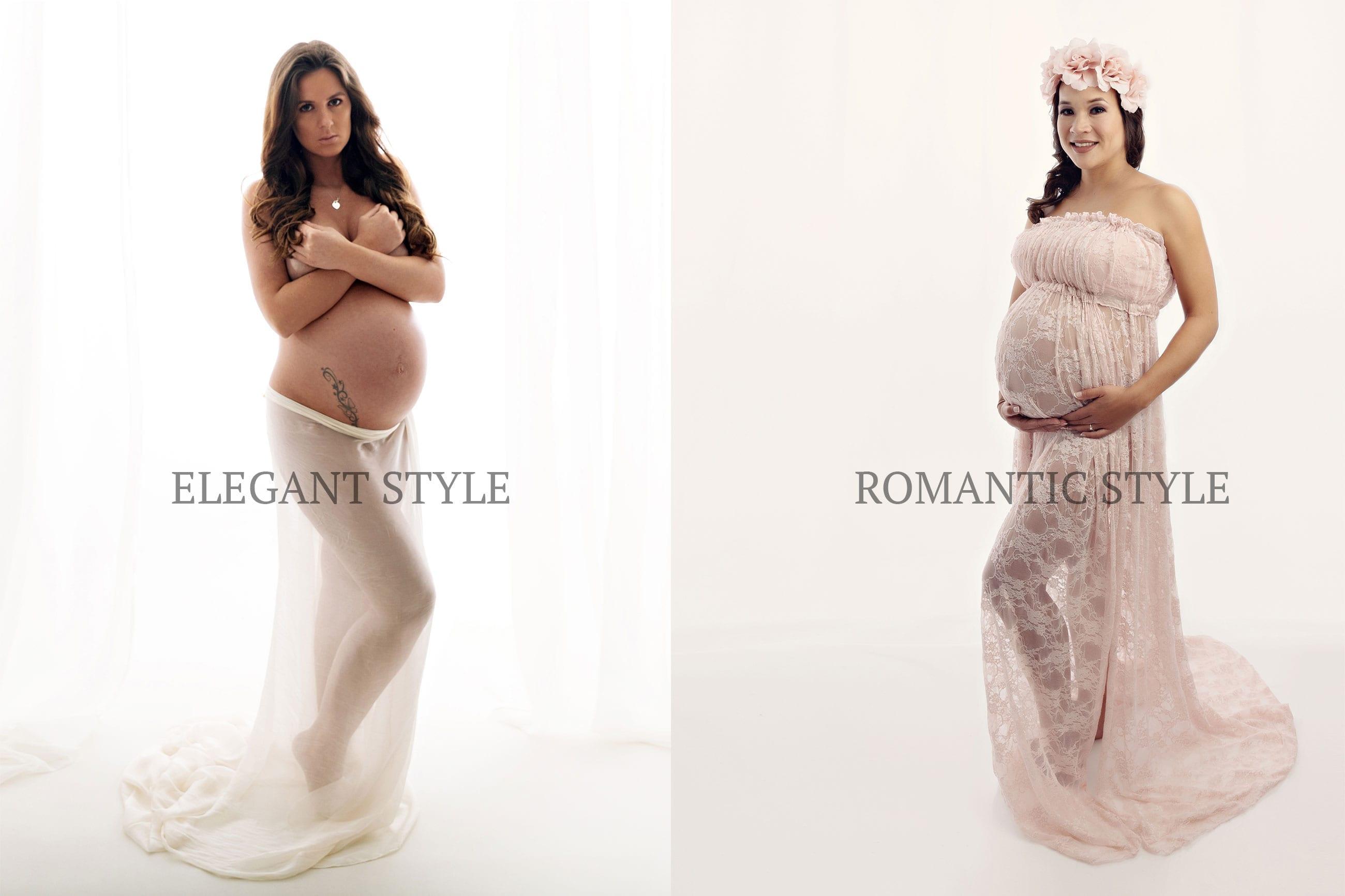 Babybauch Shooting fuer Schwangerschaftsfotografie Muenchen Elegant Style und Romantic Style