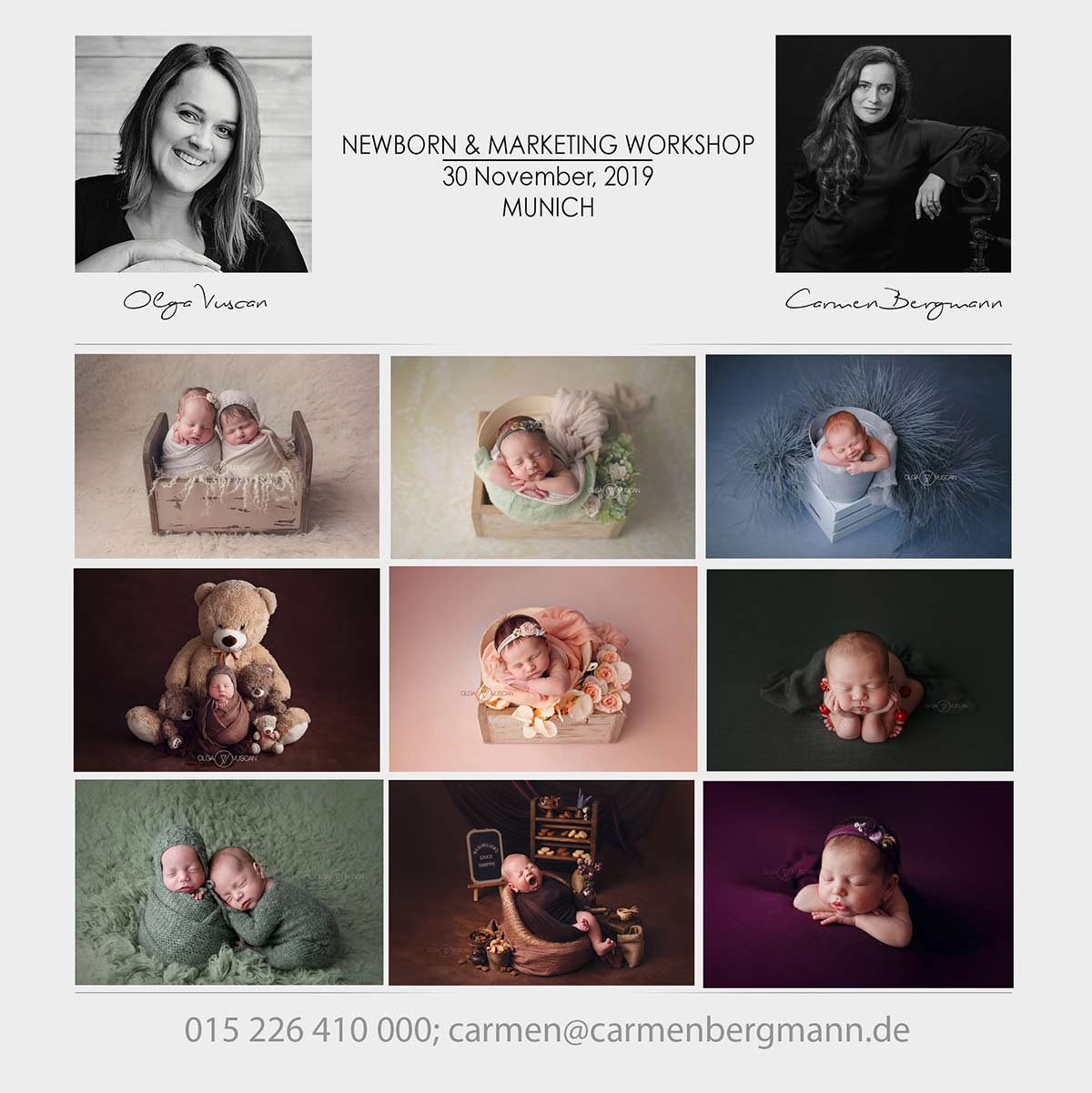 Carmen Bergmann and Olga Vuscan Worhop newborn photography marketing for photographers