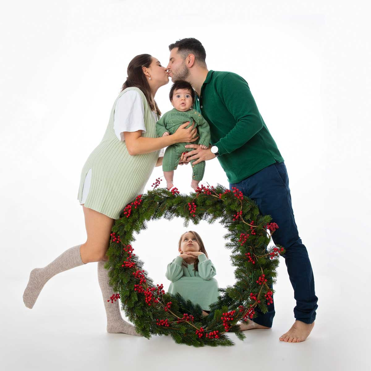 Weihnachtsshooting-familie